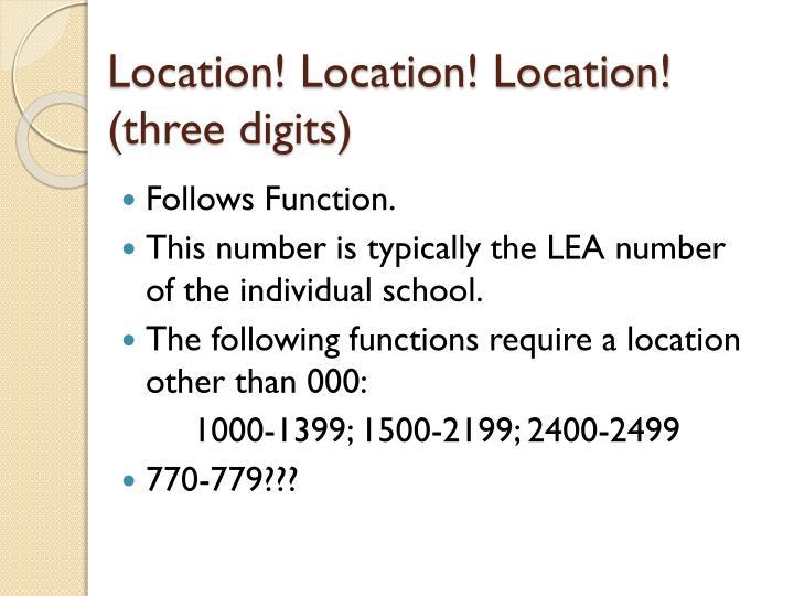 Location! Location! Location!