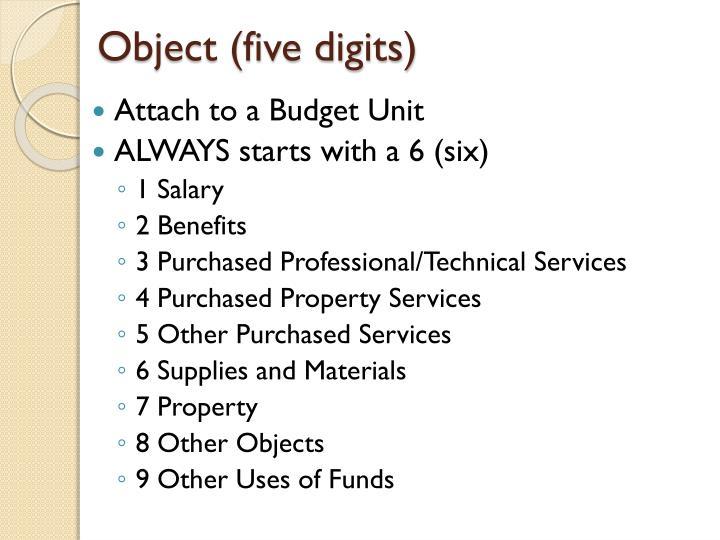 Object (five digits)