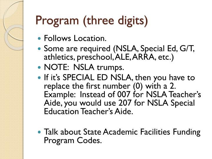 Program (three digits)