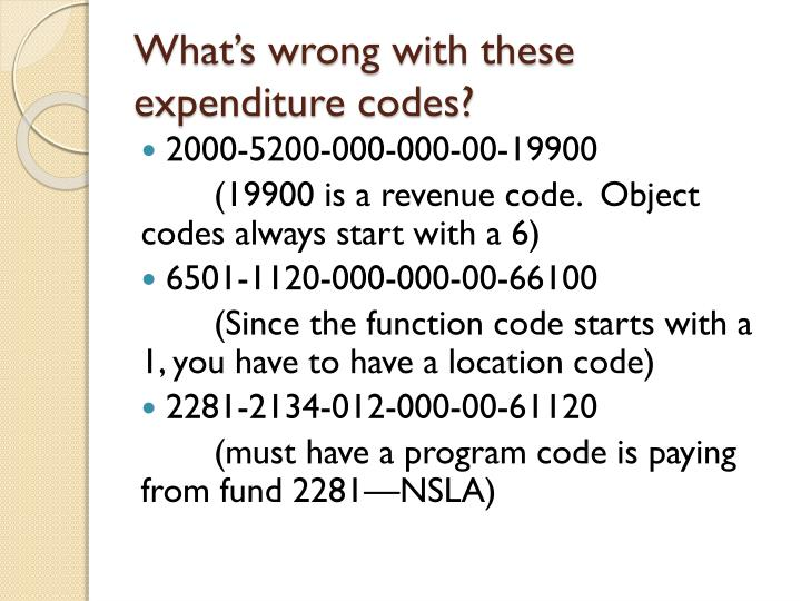 What's wrong with these expenditure codes?