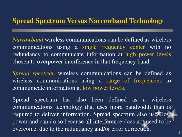 Spread Spectrum Versus Narrowband Technology