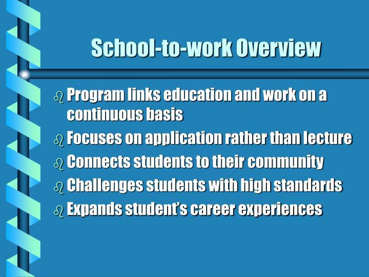 School to work overview
