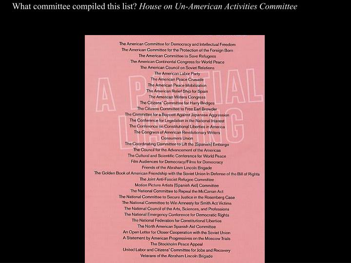 What committee compiled this list?