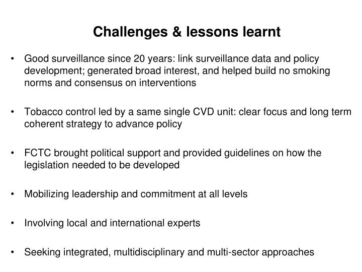 Challenges & lessons learnt
