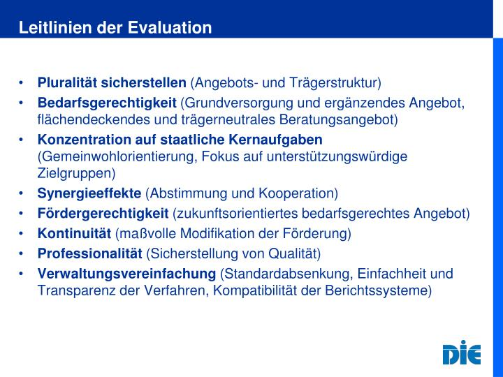 Leitlinien der Evaluation