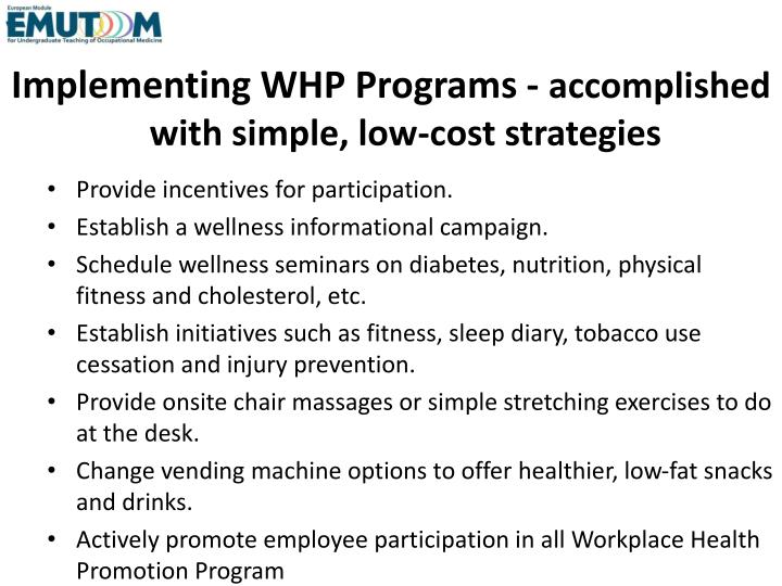 Implementing WHP Programs -