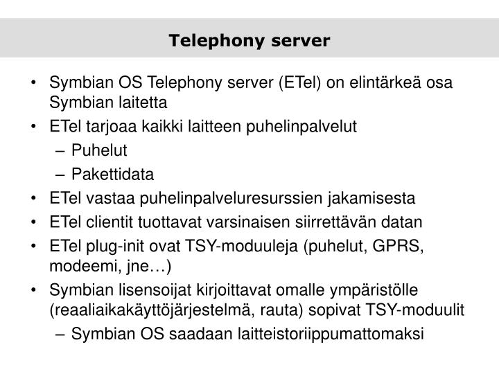 Telephony server