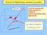 search for high energy neutrino cascades