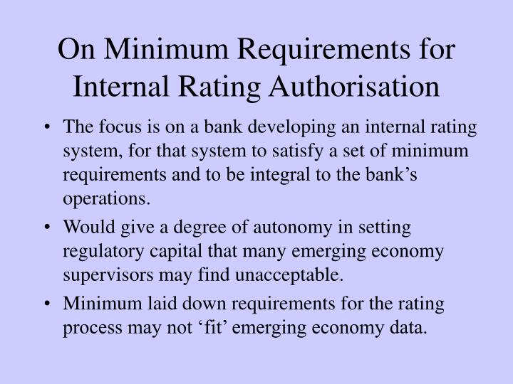 On Minimum Requirements for Internal Rating Authorisation