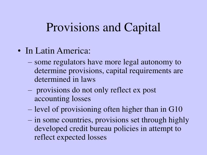 Provisions and Capital