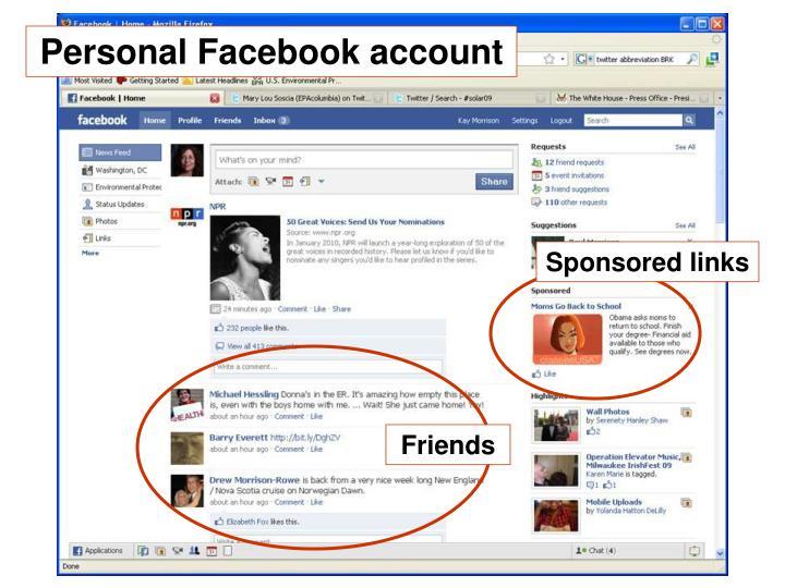 Personal Facebook account