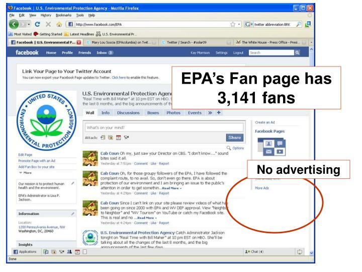 EPA's Fan page has 3,141 fans