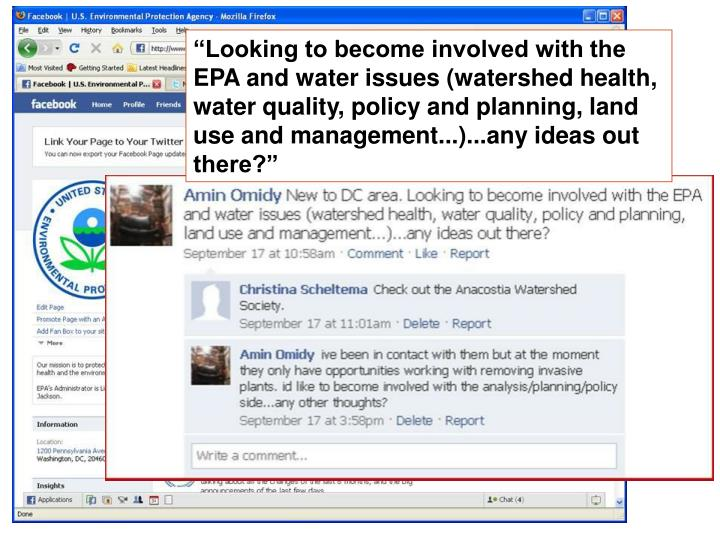"""""""Looking to become involved with the EPA and water issues (watershed health, water quality, policy and planning, land use and management...)...any ideas out there?"""""""