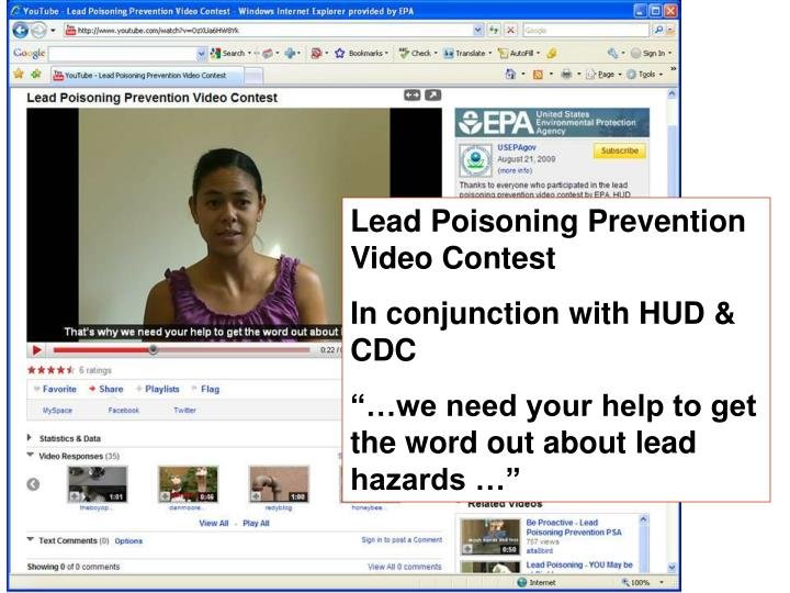 Lead Poisoning Prevention Video Contest