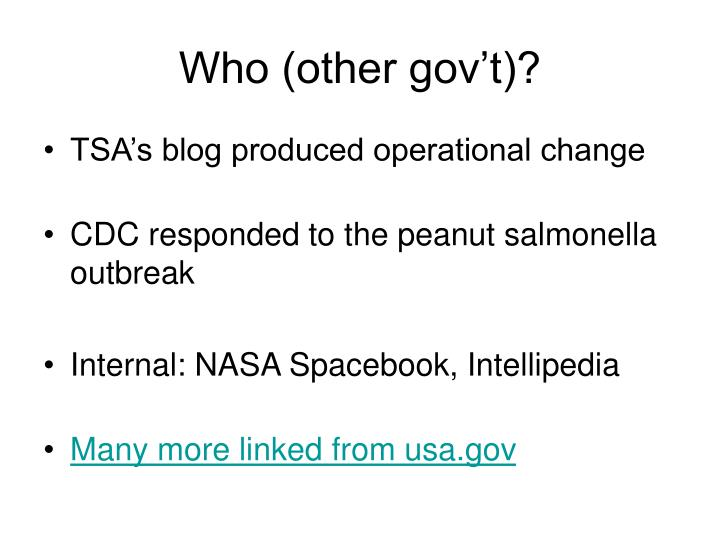 Who (other gov't)?