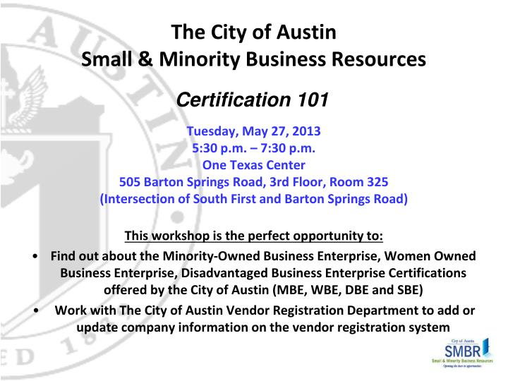 The city of austin small minority business resources