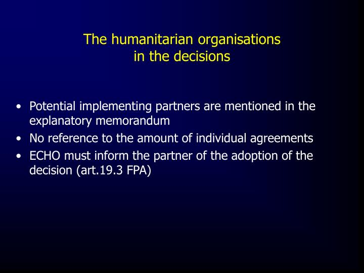 The humanitarian organisations