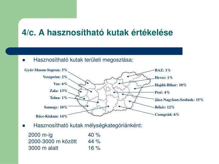 4/c. A hasznosítható kutak értékelése