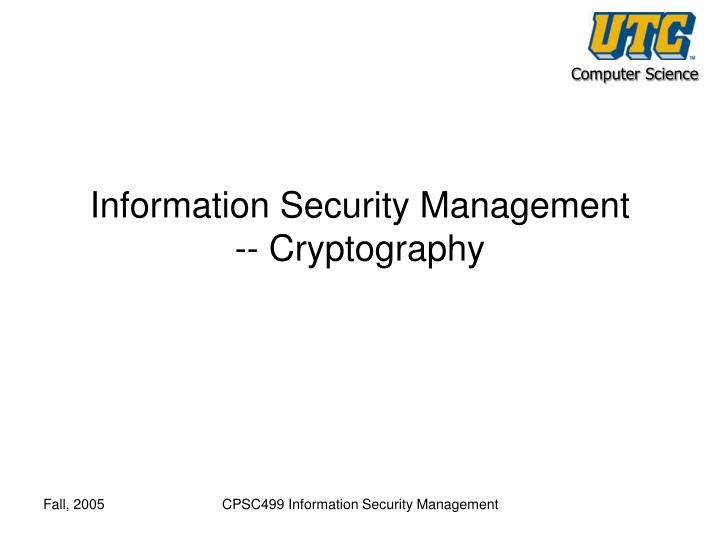 information security management cryptography n.