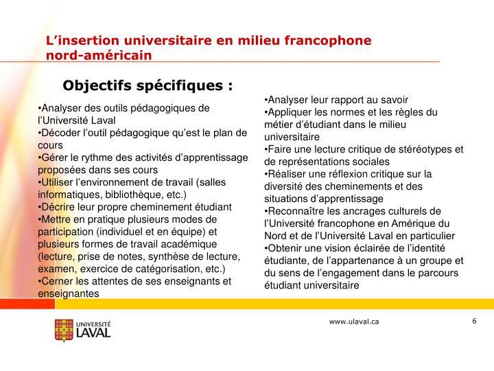 L'insertion universitaire en milieu francophone