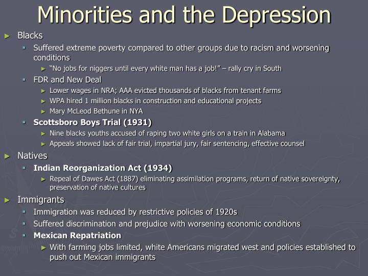 Minorities and the Depression