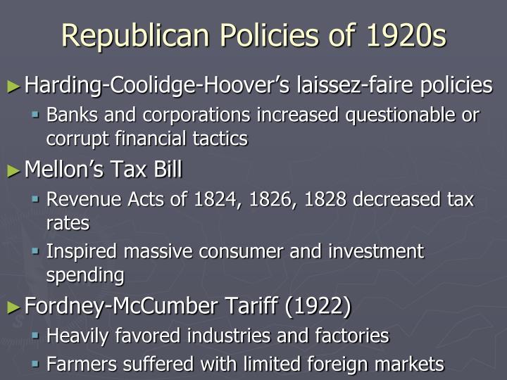 Republican Policies of 1920s