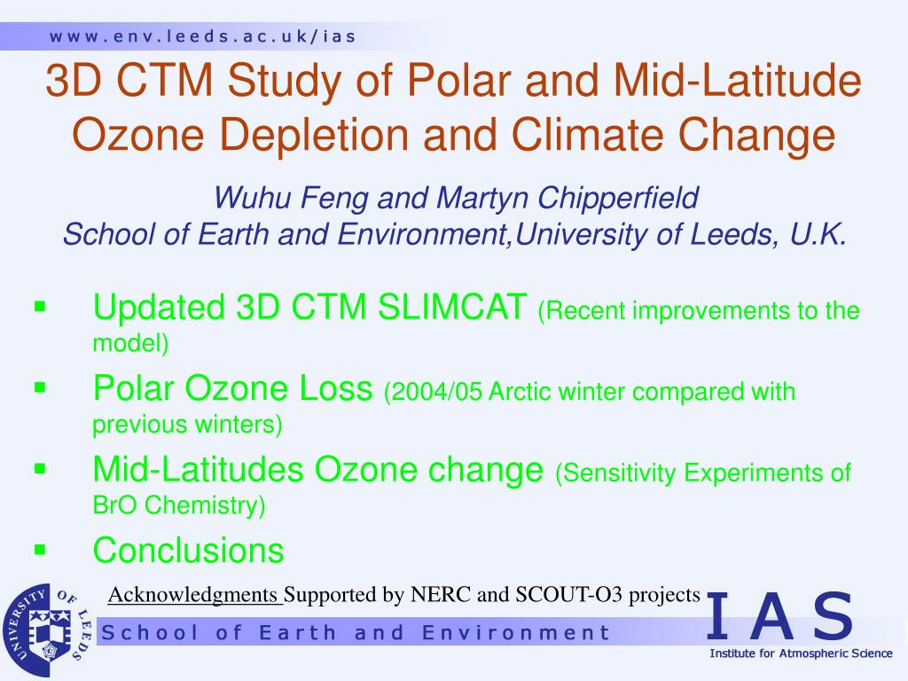 ppt 3d ctm study of polar and mid latitude ozone depletion and