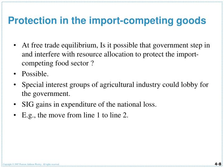 At free trade equilibrium, Is it possible that government step in and interfere with resource allocation to protect the import-competing food sector ?