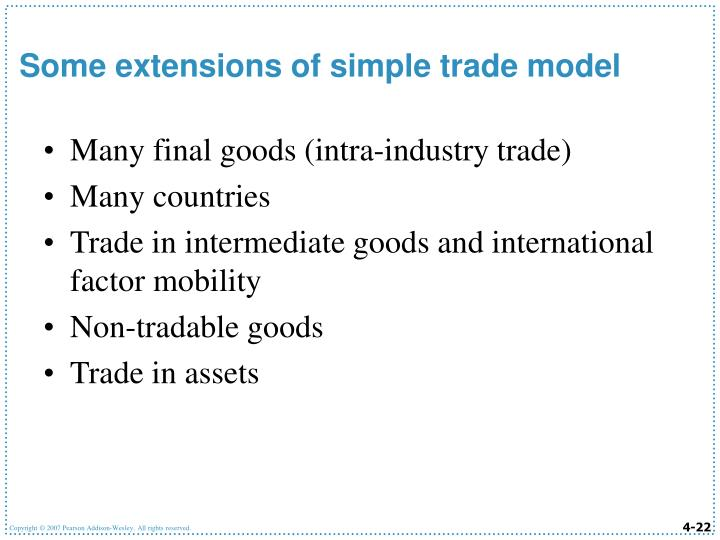 Many final goods (intra-industry trade)
