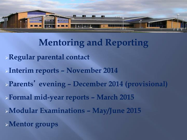 Mentoring and Reporting
