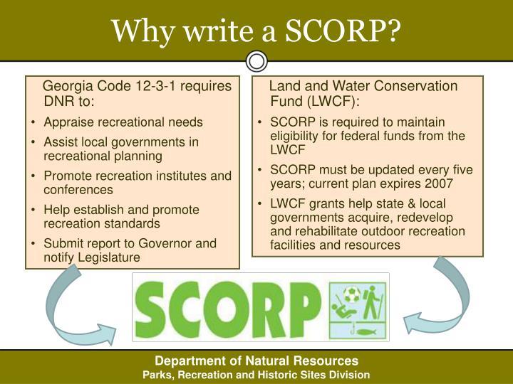 Why write a scorp