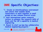 3me specific objectives