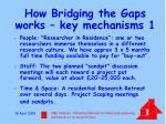 how bridging the gaps works key mechanisms 1