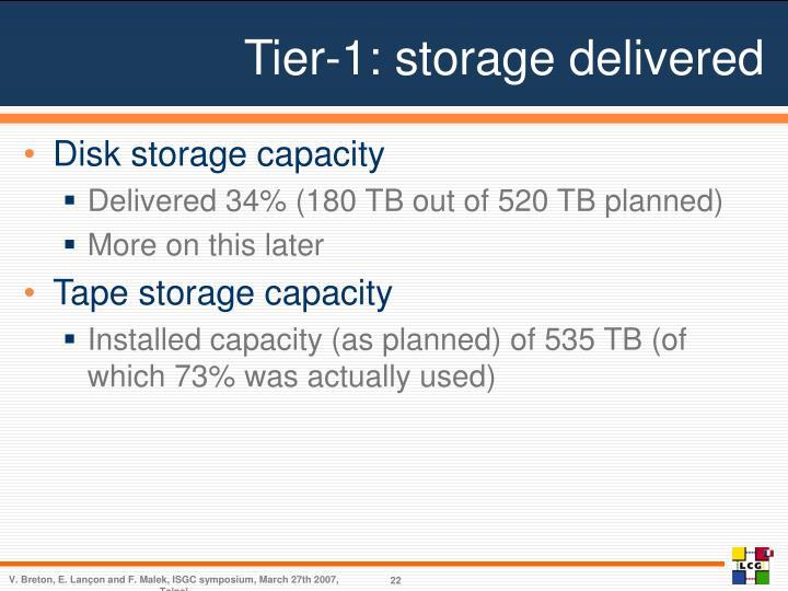 Tier-1: storage delivered
