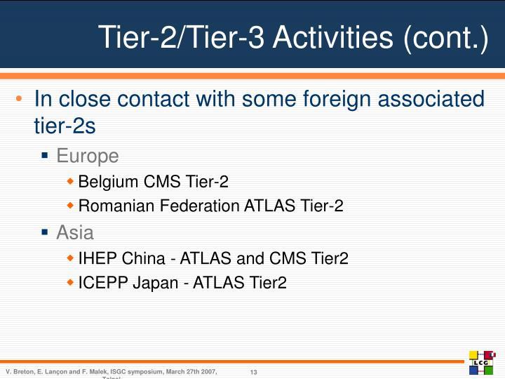 Tier-2/Tier-3 Activities (cont.)