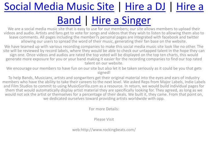 social media music site hire a dj hire a band hire a singer n.
