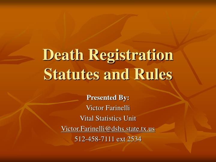 death registration statutes and rules n.