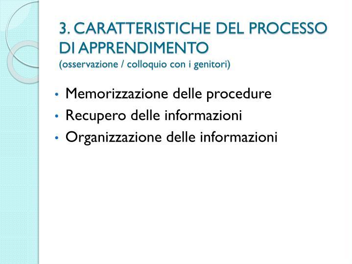 3. CARATTERISTICHE DEL PROCESSO
