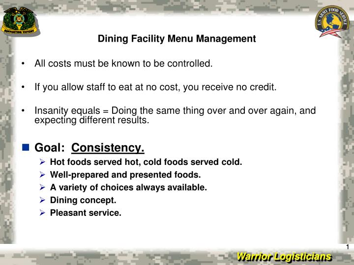 dining facility menu management n.