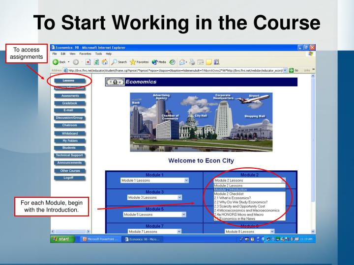 To Start Working in the Course