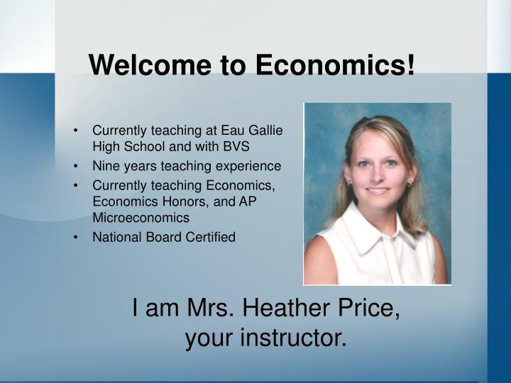 Welcome to economics