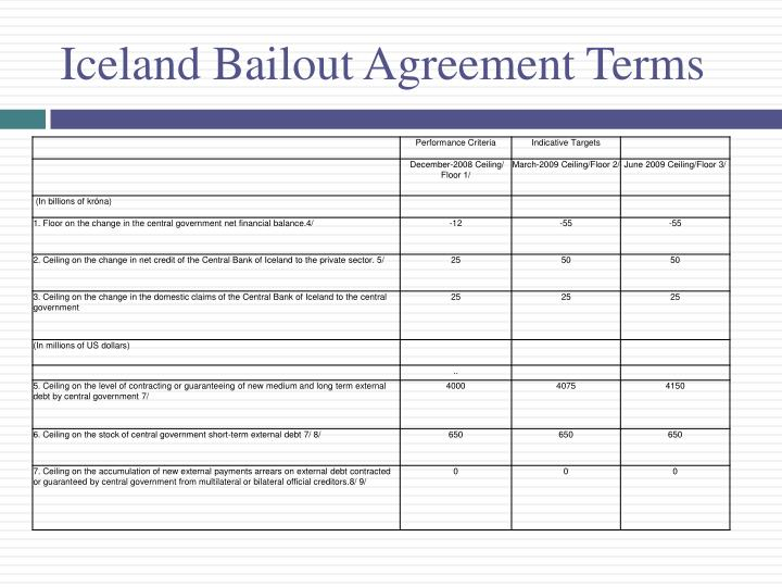 Iceland Bailout Agreement Terms