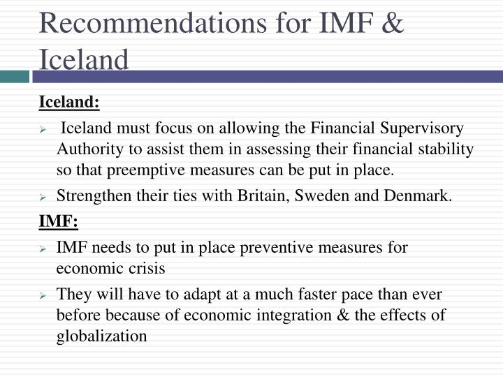 Recommendations for IMF & Iceland