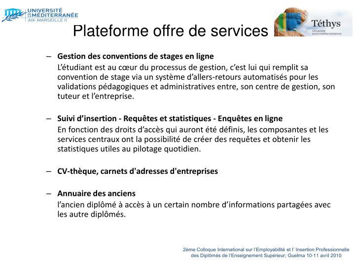 Plateforme offre de services