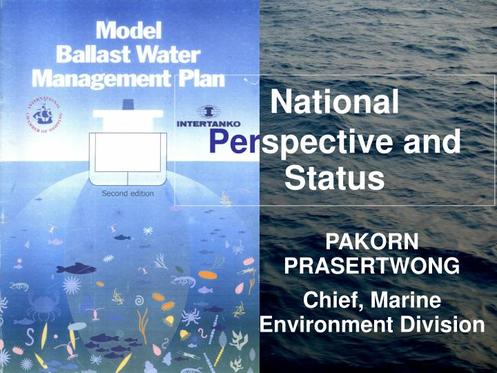 National per spective and status