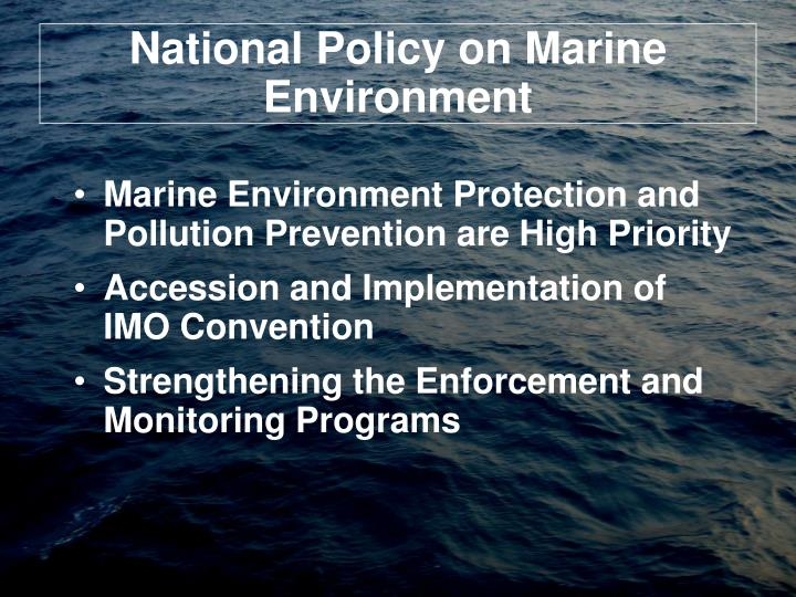 National policy on marine environment
