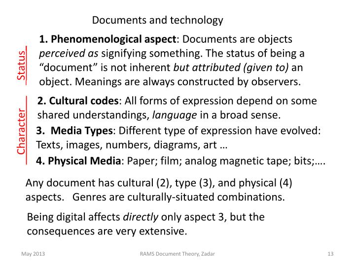Documents and technology