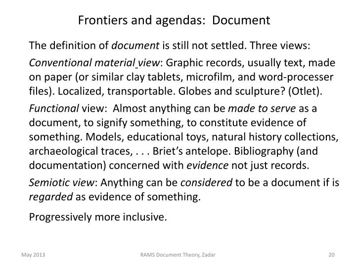 Frontiers and agendas:  Document
