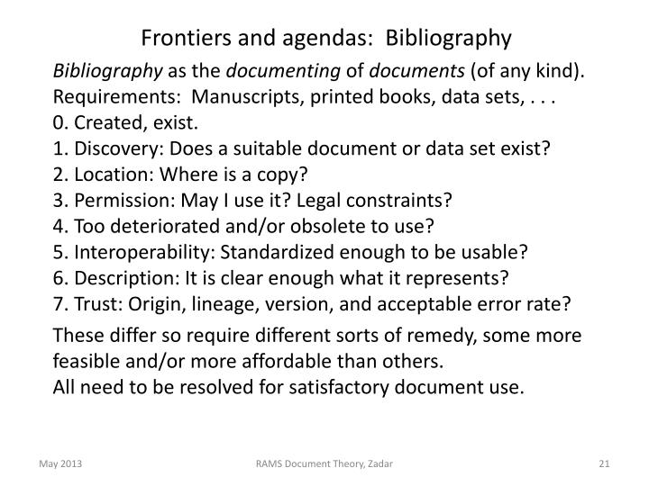 Frontiers and agendas:  Bibliography