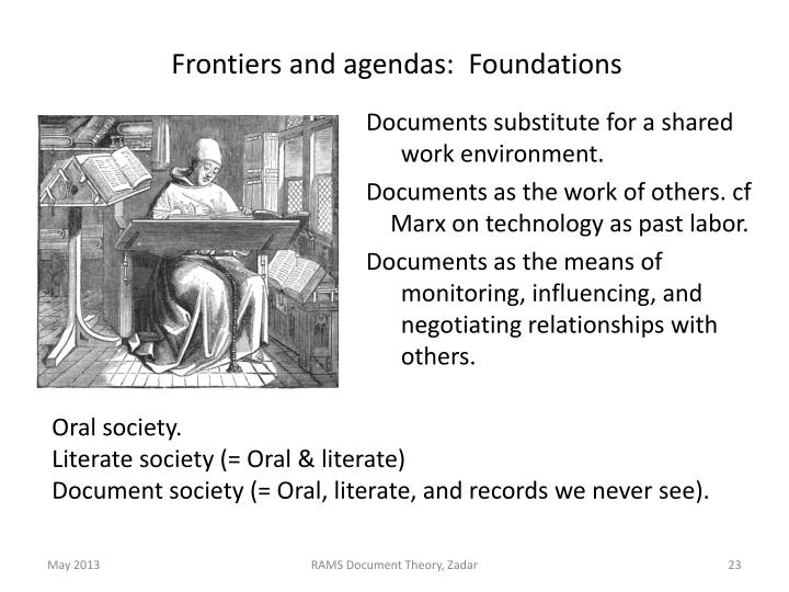 Frontiers and agendas:  Foundations